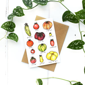 Tomatoes A6 Greeting Card, Blank Inside