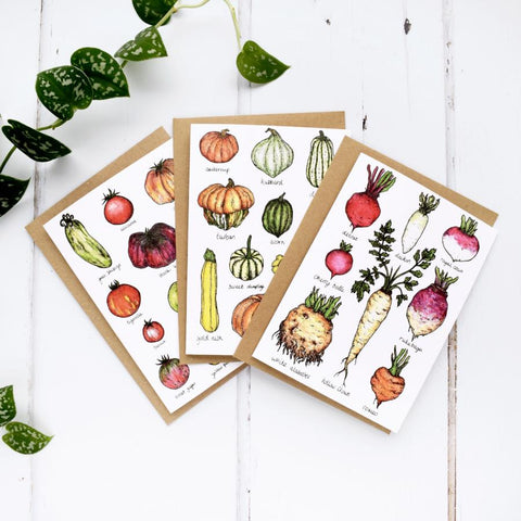 Set of 3 Vegetable A6 Greeting Cards, Tomatoes, Root Vegetables, Squashes, Gourds and Pumpkins