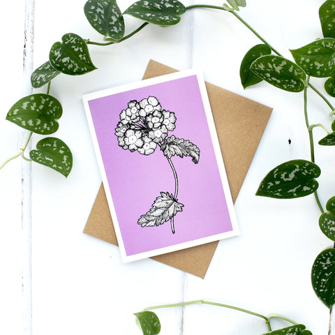 Verbena A6 Greeting Card, Blank Inside