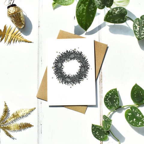 Wreath With Gold, Seasonal Christmas Card