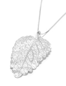 Handmade Long Silver Leaf Pendant Necklace, Silver Leaf Pendant, Long Silver Layering Necklace, Woodland