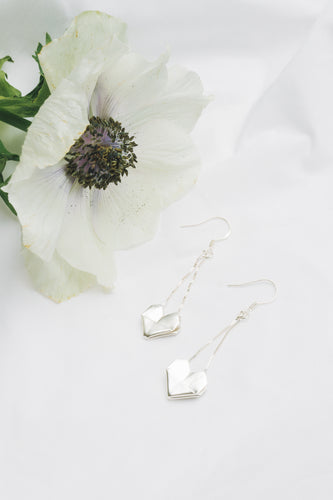 Handmade Origami Sterling Silver Heart drop earrings double line, Origami Heart Jewelry, Paper Heart Earrings, Valentine's Day Gift