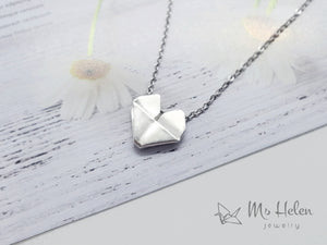 Handmade Origami Sterling Silver Heart Necklace, Origami Heart Jewelry, Paper Heart pendant, Valentine's Day Gift