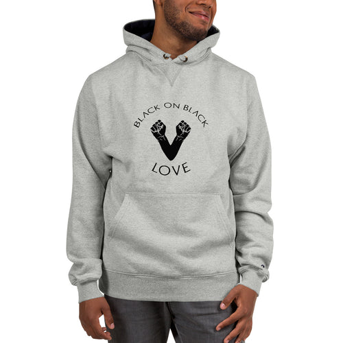Black on Black Love Champion Hoodie