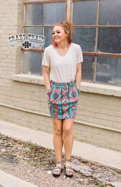 TH Aztec Drawstring Skirt-M