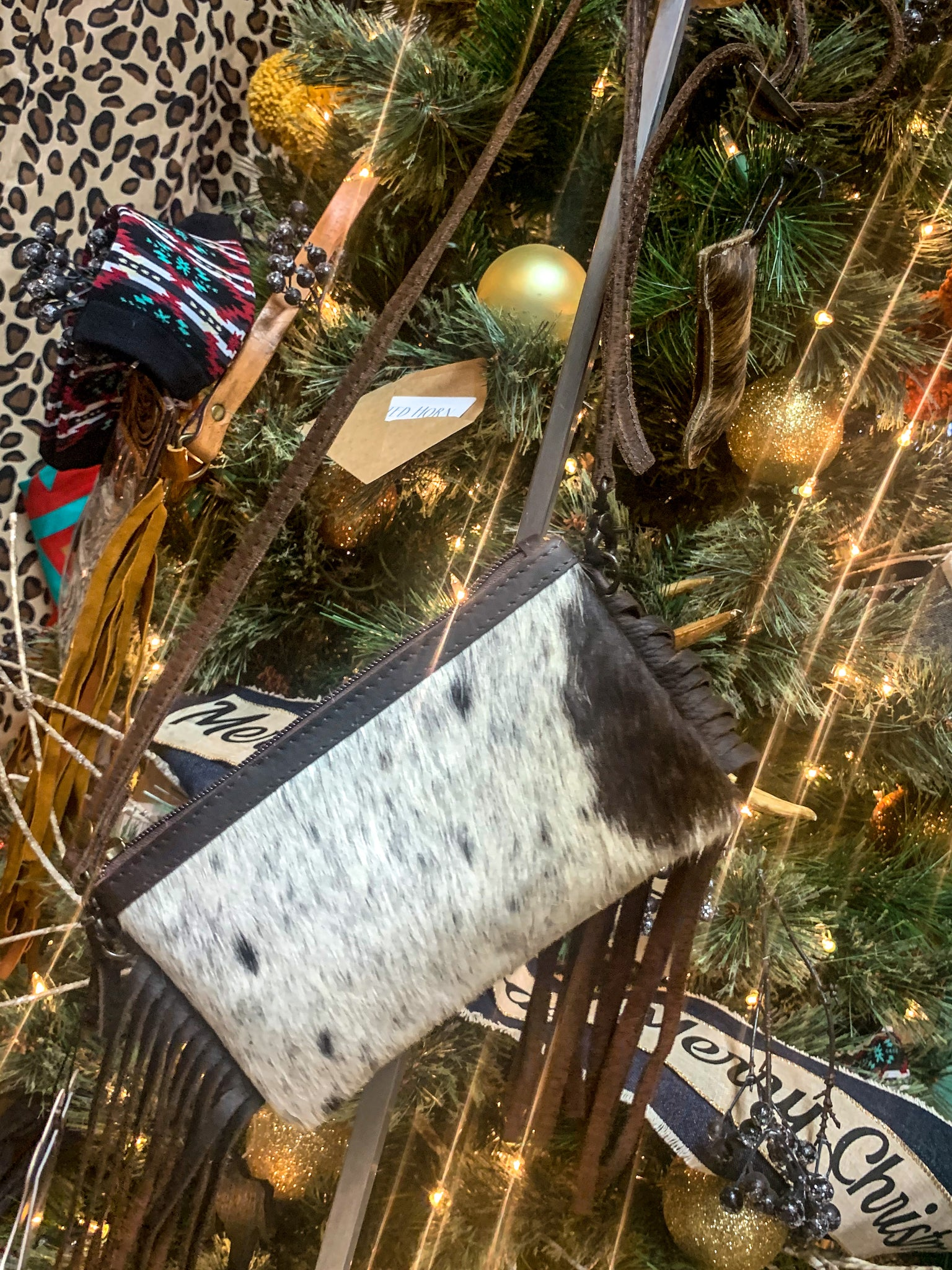 TH The Abby Brown Cowhide Wristlet