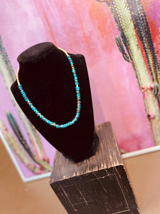 "16"" Rolled Turquoise and Heishi Necklace"