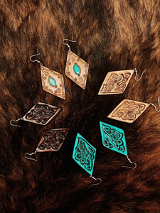 Triangle Tooled Leather Earrings
