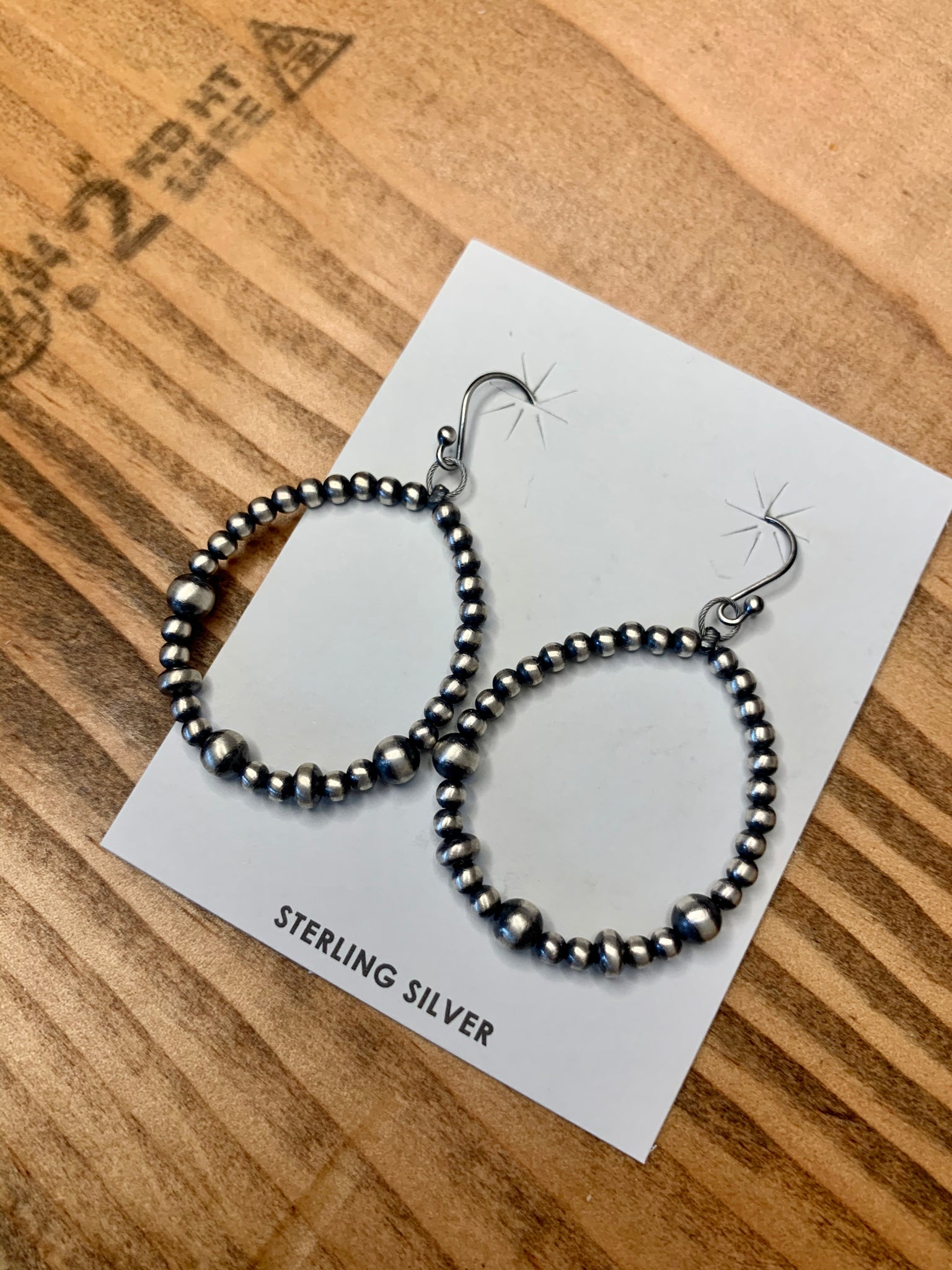 Small Navajo Pearl Teardrop Earrings