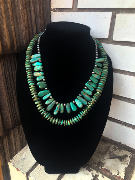 Green Turquoise Petal and Navajo Pearl Necklace