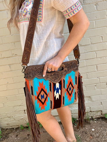 Turquoise and Orange Aztec Print Bag