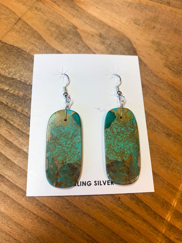 Turquoise Slab Earrings-Green