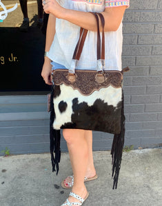 Black Cowhide Tooled Leather Purse