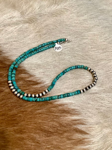 "20"" Rolled Turquoise and Navajo Pearl Necklace"