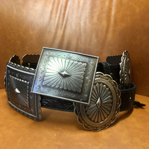 Black Tooled Leather Silver Concho Belt