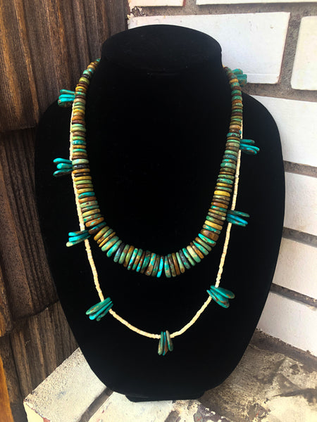 Turquoise Petal and Heishi Necklace