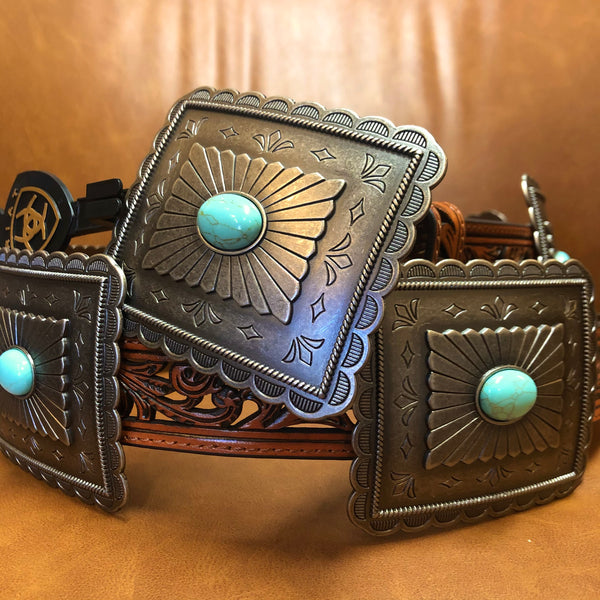 Brown Tooled Silver Concho Belt with Turquoise Accents