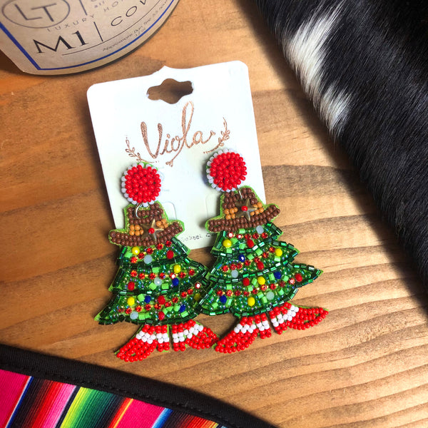 TH Cowgirl Christmas Beaded Earrings
