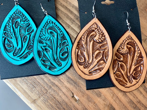 Teardrop Tooled Leather Earrings