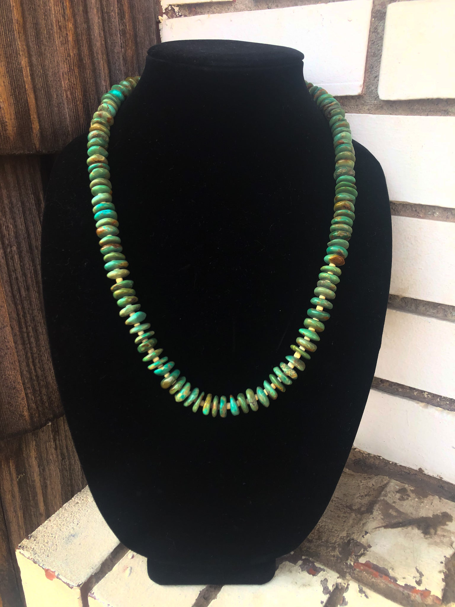 22-24in Green Turquoise and Heishi Necklace