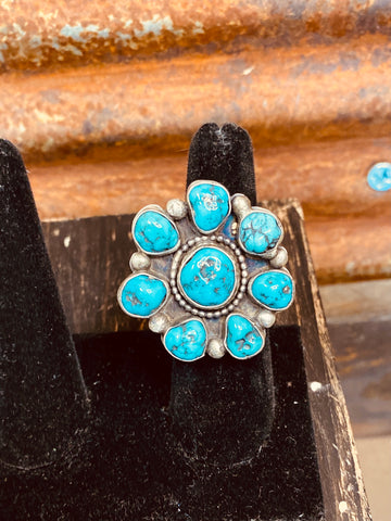 Turquoise Cluster Adjustable Ring