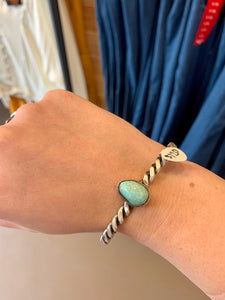 Twisted Silver Turquoise Cuff