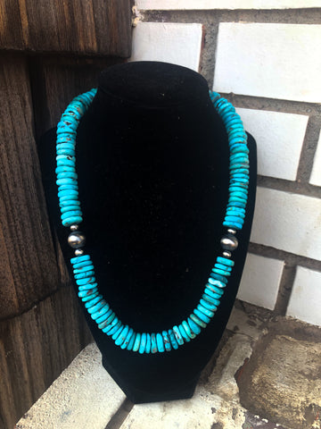 Rolled Light Blue Turquoise Necklace