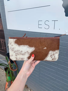 Brown Cowhide Wristlet