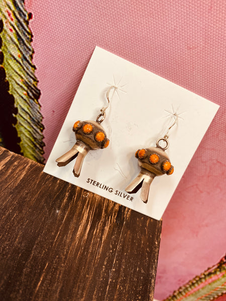 Spiny Oyster Shell Squash Blossom Earrings