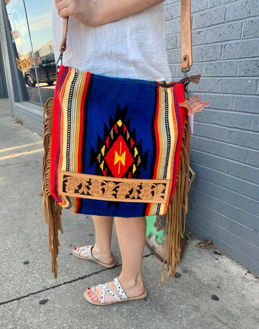 Large Blue Aztec Bag