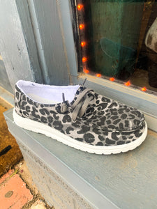 Shades of Grey Leopard Slip On Shoes