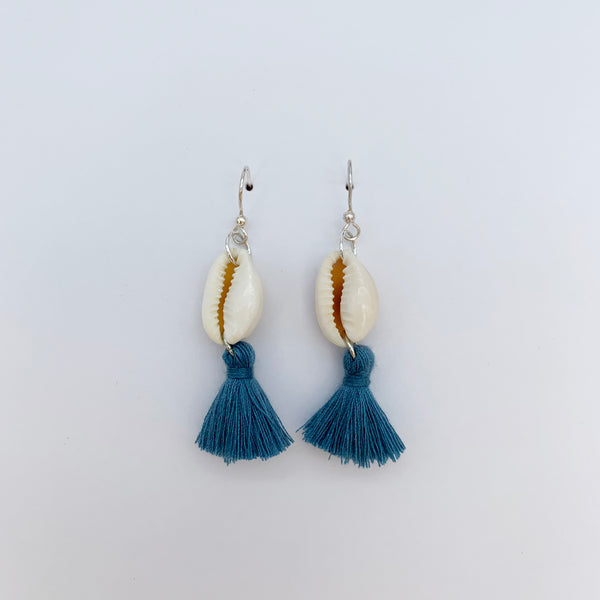 Silver Hook Cowrie Shell with Deep Blue Tassel