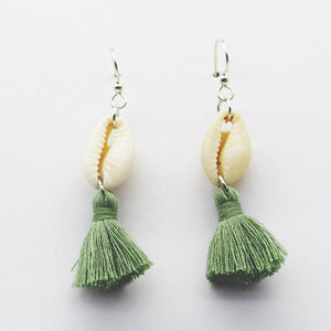 Earring Silver Hook Cowrie Shell with Moss Green Tassel