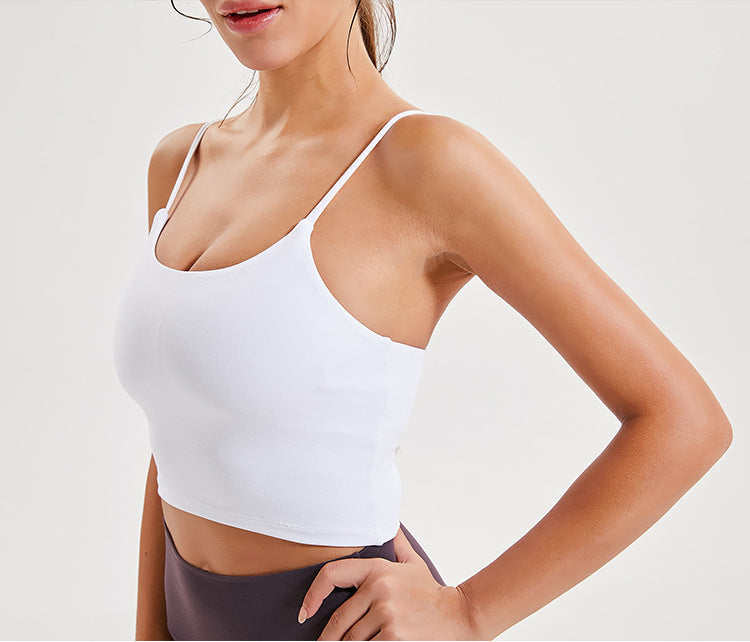 Sexy Thin Strap Sling Yoga Tank with Chest Pad