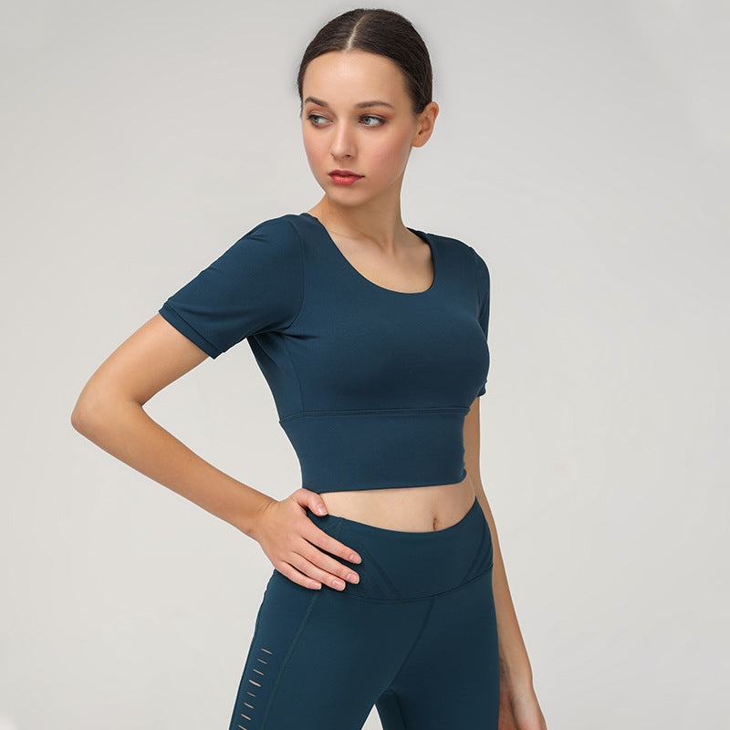 Elastic Slim-fit Sports Top with Chest Pad