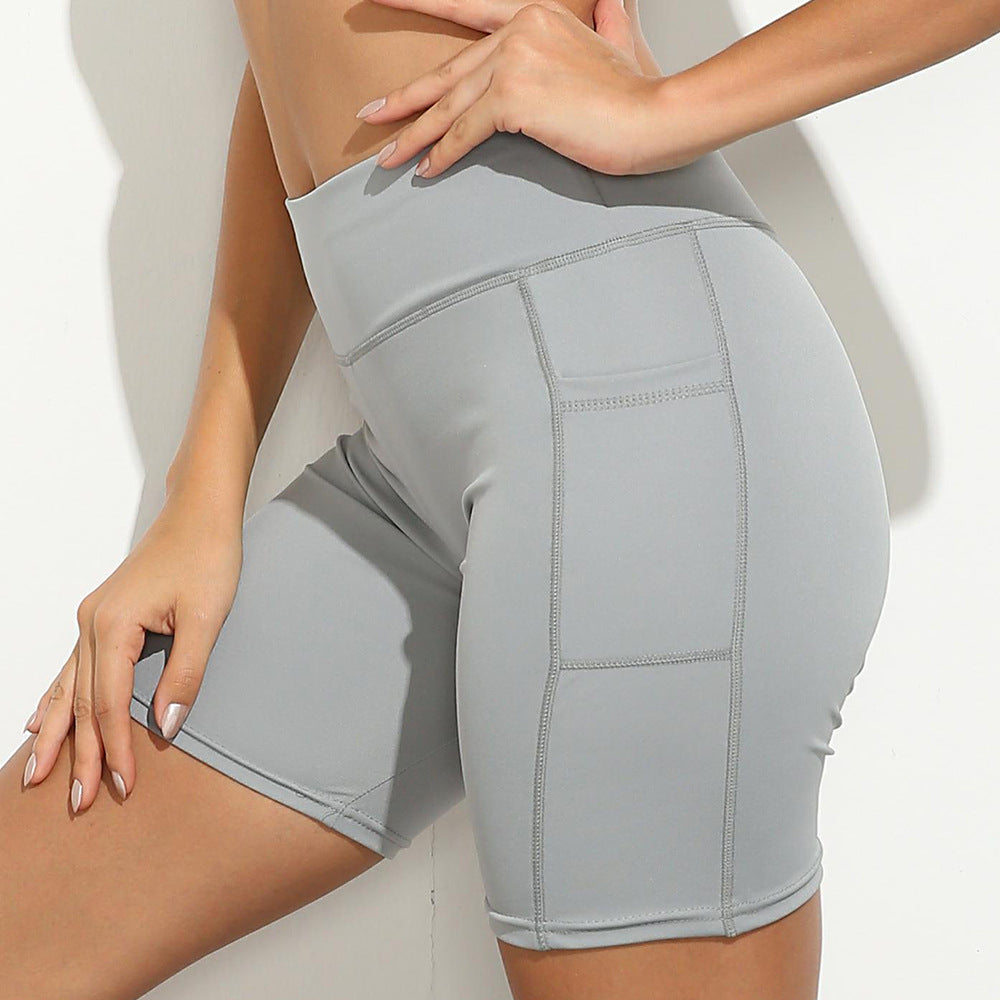 High Waist Stretch Women's Pocket Stitching Sports Shorts