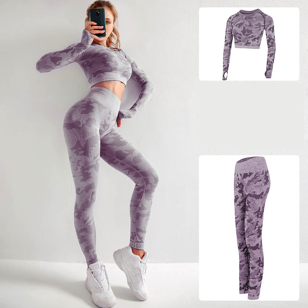 Camo Seamless Fitness Yoga Set-Sport Top + Legging