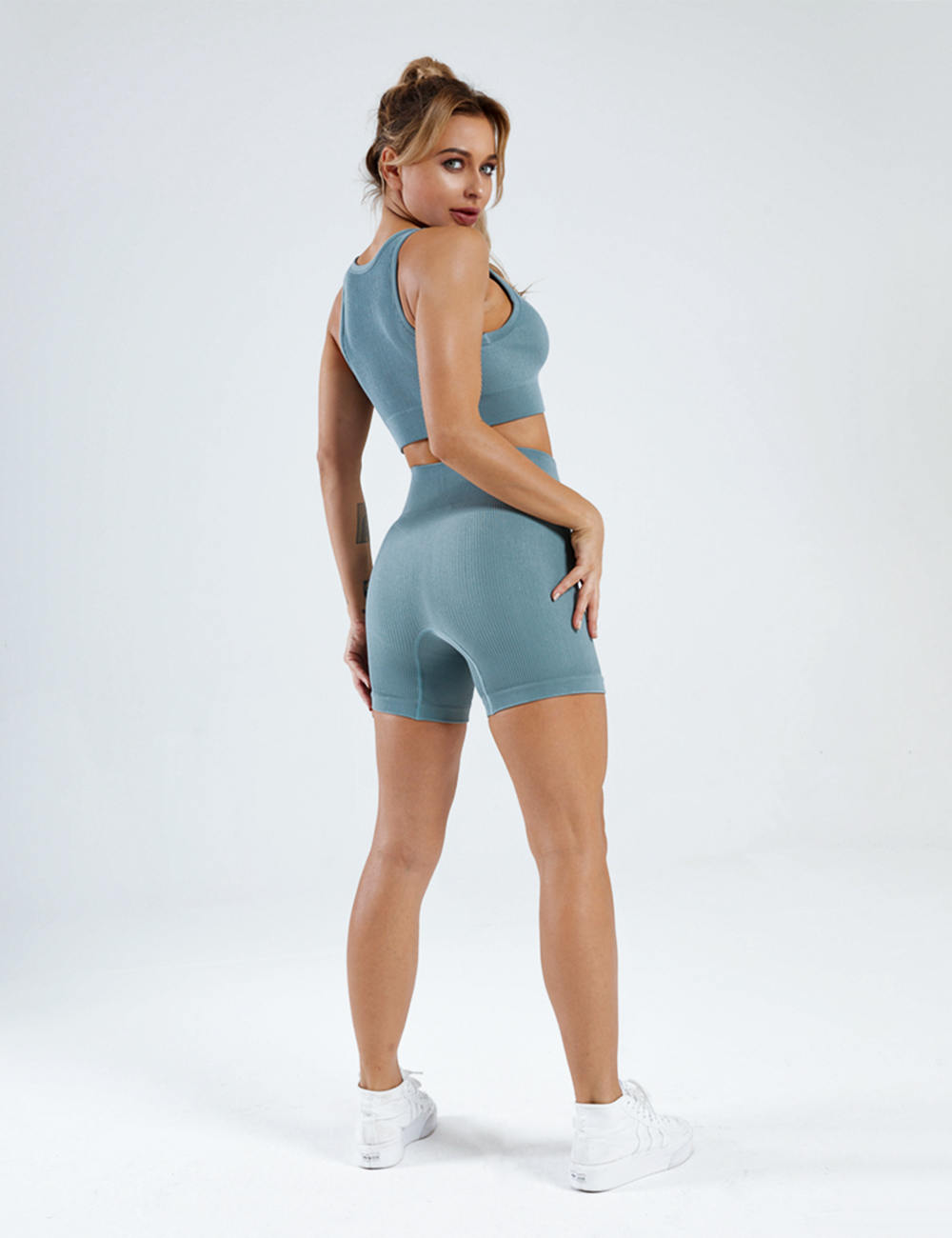Seamless Knitted U Neck Yoga Bra & Shorts Set