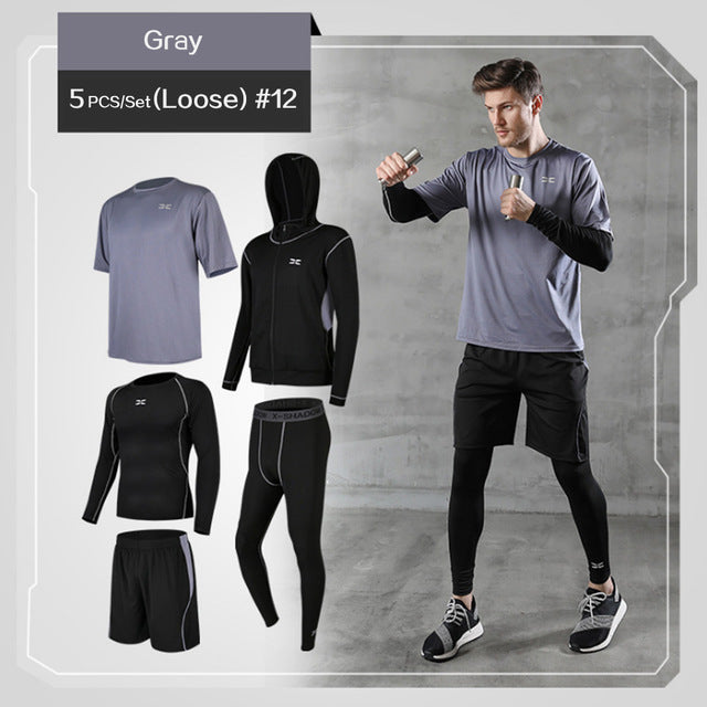 5 Pcs/Set Men's Fitness Compression Sports Suit