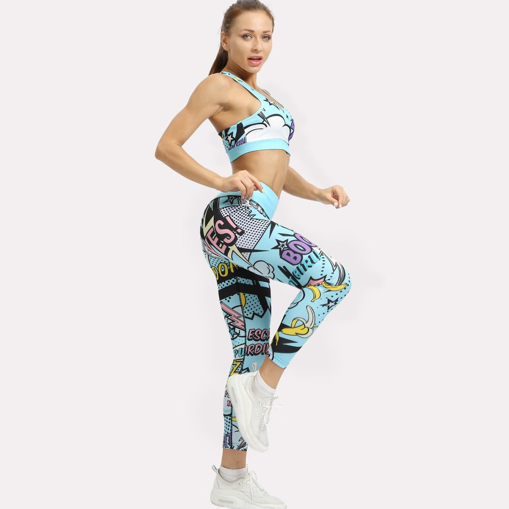 Women Print Cartoon Sportswear Set