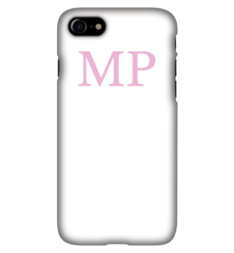 White with Pink Initials Personalised Phone Case