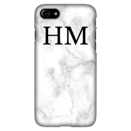 White Marble with Black Initials - Personalised Phone Case