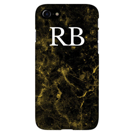 Black Marble with White Initials - Personalised Phone Case