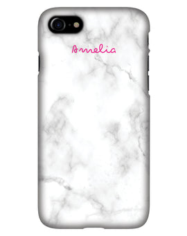 White Marble with Pink Script Personalised Phone Case