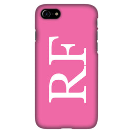 Pink with Vertical White Initials - Personalised Phone Case