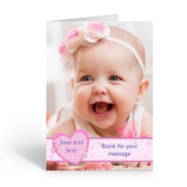 Baby Girl Full Photo Personalised Card