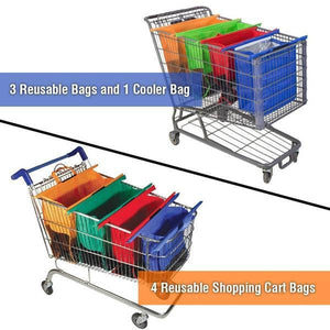 4 in 1 Reusable Grocery Bag and Shopping Cart Bags