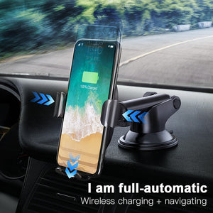 Wireless Car Charger and Phone Holder for iPhone/Samsung