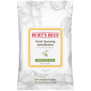 Burt's Bees Facial Cleansing Towelettes for Sensitive Skin - Travel PAKT