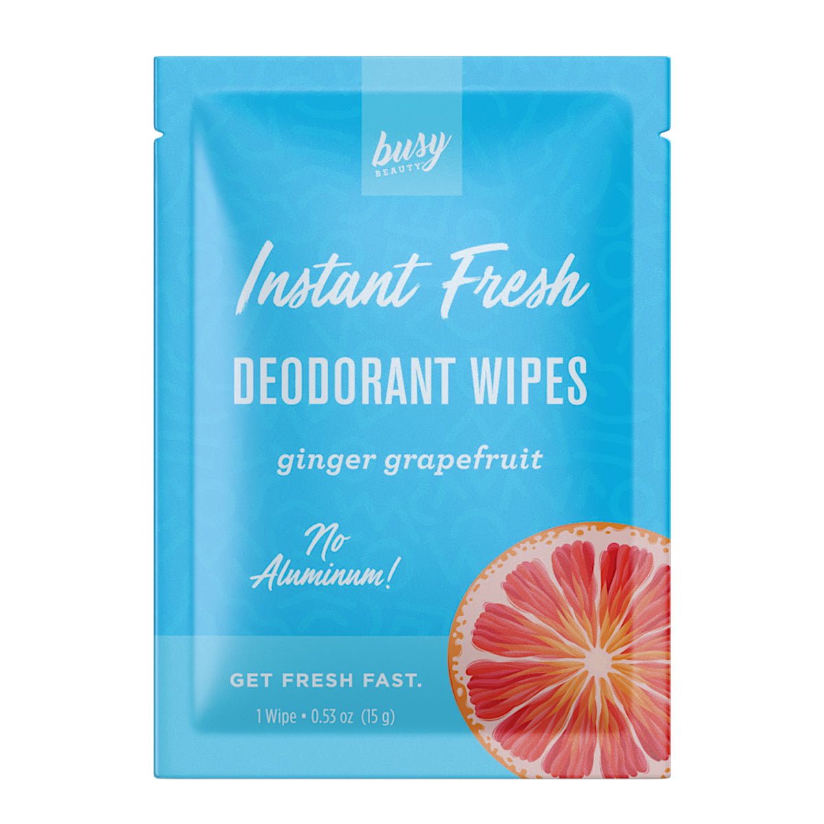 Busy Beauty Aluminum Free Deodorant Wipe Ginger Grapefruit - Travel PAKT